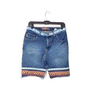 Jou Jou Embroidered Vintage Tribal Denim Skirt